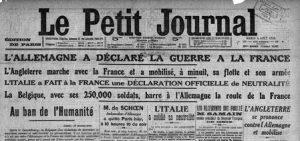 Une du petit journal - août 1914