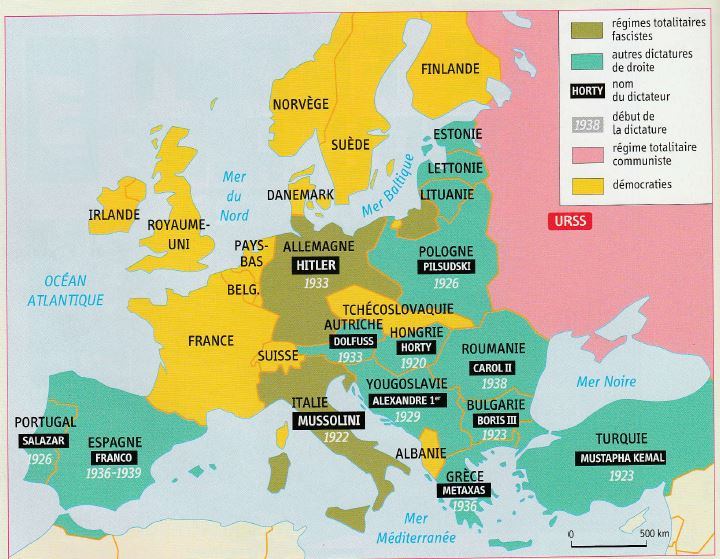 carte europe 1930